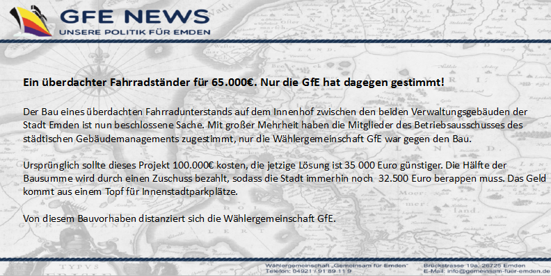 GfE News Fahrradunterstand
